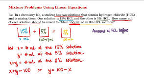 pre calculus mixture problems using linear equations you