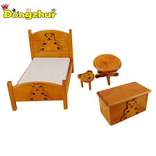 bedroom furniture wooden crib bed baby roundtable bench stool 1 12 scale dollhouse miniatures set kids doll house dolls houses for s dolls house