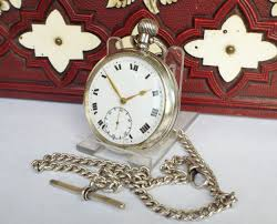 1921 silver dimier frres pocket watch with chain
