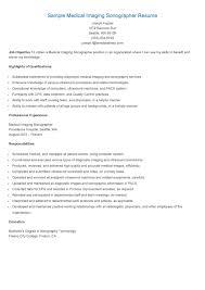 Sample Medical Imaging Sonographer Resume Resume Samples Resame