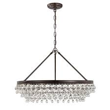mill mason hopewell bronze 30 inch six light chandelier with clear crystal
