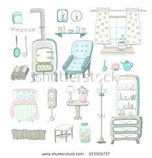 home element furniture. Home Elements Furniture Vector Illustration Of Interior Hand Drawn And Potbelly Stove . Element T