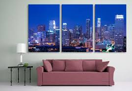 los angeles skyline at night 3 panel split triptych canvas
