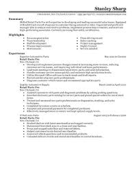 Auto parts manager resume