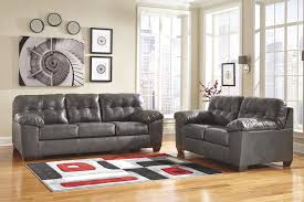 Contemporary Faux Leather Sofa w Pillow Arms by Signature Design