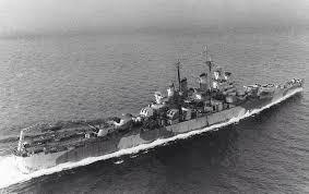 uss topeka cl 67 cleveland class light cruiser underway at sea