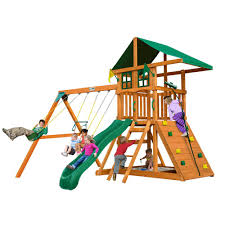 Swing Set Designs Diy Gorilla Playsets Diy Outing Iii Treehouse Wooden Swing Set With Rock Wall And Sandbox Area