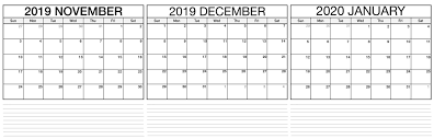 November 2019 To February 2020 Calendar With Holidays Net