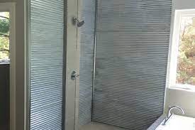 using corrugated metal for shower walls