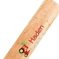 personalized natural red tractor childrens wooden growth chart b076np3683 id