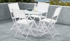 Ensemble de jardin blanc pas cher 4 places - 1 table et 4 chaises