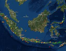 map showing volcanic activity across indonesia