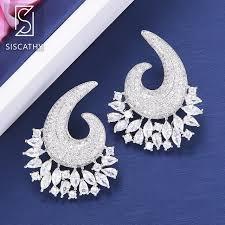 <b>SISCATHY</b> Deluxe Women Wedding Shining Stud Earring Full ...