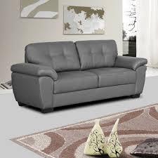 grey leather sofa bradwell darkwith tuffted seats and cushions