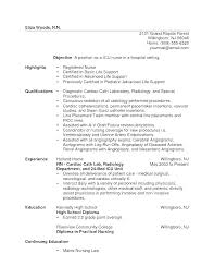 Resume Examples For Rn Simple Sample Rn Resumes One Year Experience New Registered Nurse Resume
