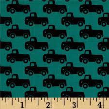 Tiny Trucks Michael Miller Tiny Trucks Teal Discount Designer Fabric