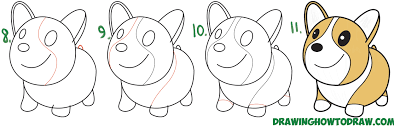 easy dog drawing tutorial. Interesting Drawing Learn How To Draw A Cute Cartoon  Kawaii Chibi Corgi Simple Steps Drawing  Lesson For Easy Dog Tutorial