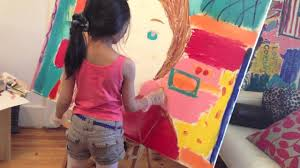 7 year old pop art painting american girl doll saige