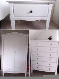 Schreiber Bedroom Furniture Schreiber White Wooden Double Wardrobe Chest Of Drawers