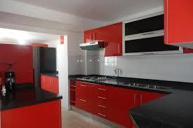 Modern Red Kitchen Design with Black Backsplash and White Tile ...