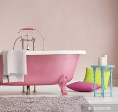 classic pink bathtub with a stool and aged wood floor vinyl wall mural lifestyle gt
