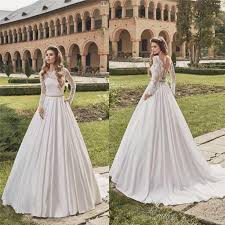 vintage illusion lace 2016 fall wedding dresses satin sheer