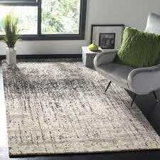 safavieh retro mid century modern abstract black light grey distressed rug 6 x 9