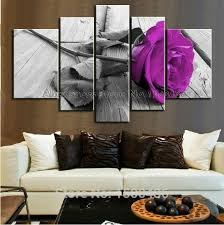 hand painted purple flower rose oil painting canvas large cheap 5 piece wall art set decoration home modern abstract picture in painting calligraphy from  on huge wall art pieces with hand painted purple flower rose oil painting canvas large cheap 5