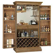 Wine Bar Storage Cabinet Mirrored Interior Hinged Door Liquor Storage Bar Cabinet