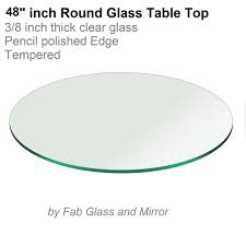 glass table top 48 round 3 8 inch thick pencil polish edge tempered 690000192777