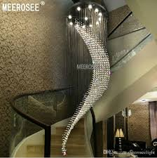large spiral crystal ceiling light fixture big chandelier res de cristal light fitting villa crystal lamp for staircase hallway lobby large spiral