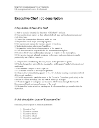 Cook Job Description Resume Chef Job Description Template Templates Data 52