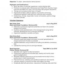 Clerical Resume Cover Letter Examples Duties Job No Experience