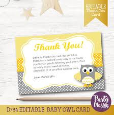 Owl Thank You Card EDITABLE Printable Cards Yellow And Grey Owl Owl Baby Shower Thank You Cards