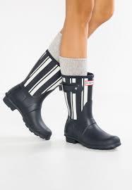 hunter original garden stripe short wellies navy white boots women s buckle natural rubber wg3s9umw