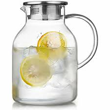 details about glass pitcher w lid 68 oz water jug for hot cold water ice tea borosilicate new