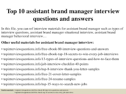 top  assistant brand manager interview questions and answers