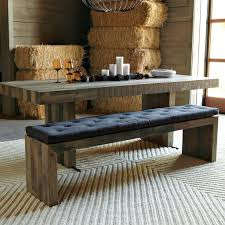 Dark Gray Glossy Oak Wood Dining Table Combined With Mission Style Oak Table Bench