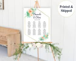 Succulents Wedding Seating Chart Sign With Mint And Coral Cacti Florals Desert Wedding Seating Plan Board Custom Table Sign Poster Cactus