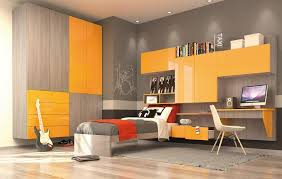 gulliver modern kid bedroom with wall wardrobe yellow and elm finish