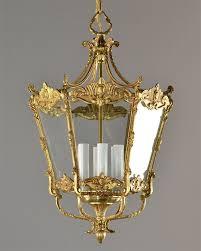 large 21 tall brass italian lantern c1940 vintage antique ceiling light gold ornate