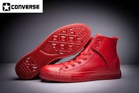 converse red leather high tops