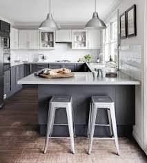 Fine Modern Gray Kitchen Cabinets Lowers White Uppers Love It And Impressive Design