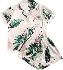 Floerns <b>Women's</b> Notch Collar Palm <b>Leaf Print</b> Sleepwear Two ...