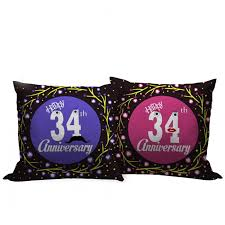 34th wedding anniversary gift set of 2 printed cushion with filler