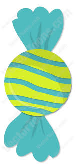 piece of candy. Fine Candy Piece Of Candy Wrapped In A Blue And Lime Green Striped Wrapper Cartoon  Clipart O