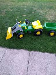 john deere ride on tractor with trailer