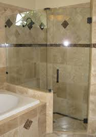 frameless glass shower doors. Frameless Shower Enclosure, Panels Set On Knee Wall With Clips, Oil Rub Bronze Hardware Glass Doors