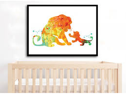lion king watercolor art print simba and mufasa watercolor lion king poster lion nursery lion wall