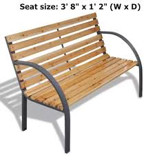 outdoor home garden bench iron frame with wood slats patio chair seat furniture